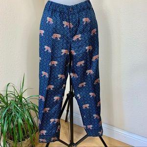 J. CREW Bengal Tiger Print Silk Easy Ankle Pants 4